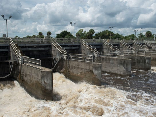 Water from Lake Okeechobee is discharged through the