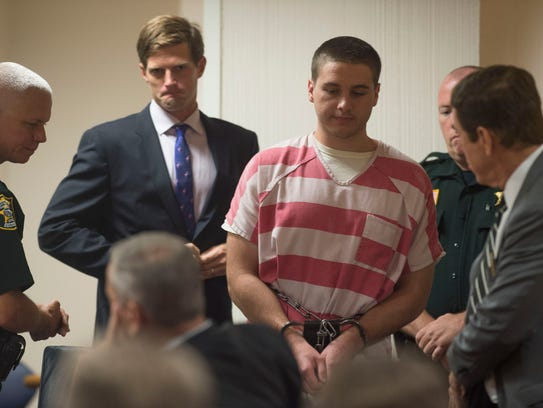 Austin Harrouff, who is accused of murdering Jupiter couple John Stevens III and Michelle Mishcon, attended a hearing related to his case  Sept. 29, 2017 at the Martin County Courthouse in Stuart.