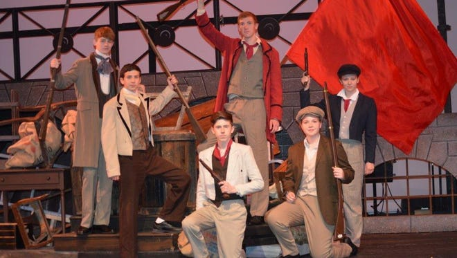 """Starring in the Summer Youth Musical Theater Workshop production of """"Les Misérables"""" are, from left, Josh Schull (Grantaire) Jonathan Zareski (Marius), Josh Sifert (Feuilly), Tyler Hubeny (Enjolras), Emma Hubeny (Joly) and Danielle Zareski (Prouvaire)."""