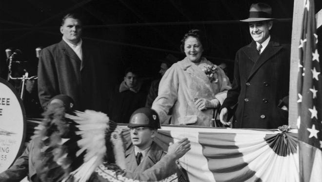 At the third official opening ceremony of the day, on Dec. 15, 1955, the day the Tappan Zee Bridge opened, Tarrytown Mayor Edward Vetrano, left, Marie Norton Harriman and New York Gov. Averell Harriman look down from the reviewing stand.