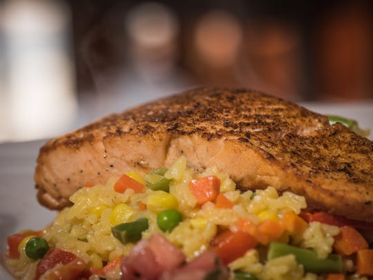 Salmon Pave with vegtable risotto at Belmonte's restaurant (Photo/James J. Connolly/Correspondent)