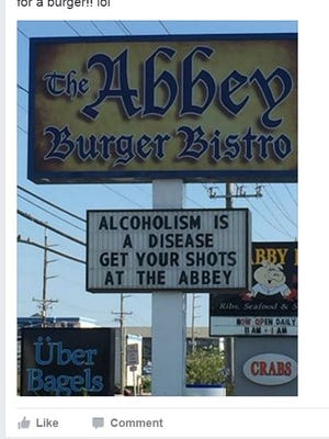 The Abbey Burger Bistro in Ocean City created a firestorm on social media for this sign. The owner took it down after receiving several complaints.