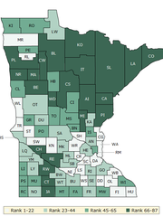 A map shows how counties rank when compared by health outcomes, such as premature death and quality of life.