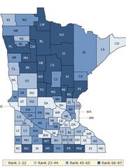 A map shows how Minnesota counties rank, compared to one another on health factors, such as obesity, access to care and smoking.