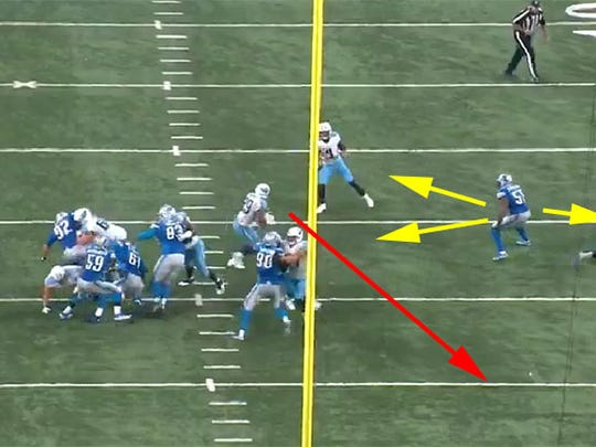 Lions linebacker Brandon Copeland is frozen by multiple options as the Titans run a successful shovel pass to DeMarco Murray.