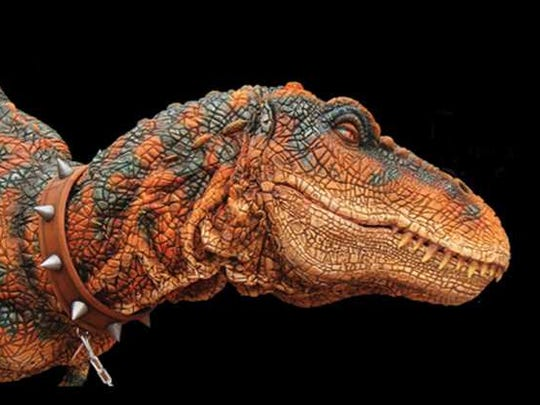 Rexie the Tyrannosaurus rex will roam the fairgrounds this year as part of one of the fair's new attractions, callled Prehistoric Dinosaur Adventures.