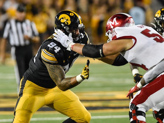 Aug 31, 2019; Iowa City, IA, USA; Iowa Hawkeyes defensive end A.J. Epenesa (94) in action during the game against the Miami (Oh) Redhawks at Kinnick Stadium. Mandatory Credit: Jeffrey Becker-USA TODAY Sports