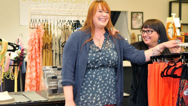 Elementality owners Jordana Thompson and Donna Leta Twist in their Asheville Mall space.