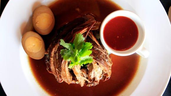 Pah Lho (braised pork) with hard boiled egg and steamed bok choy at Zab Thai.