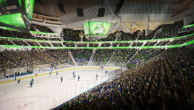 A computer drawing provided by the Oak View Group envisions an NHL game inside a renovated KeyArena.