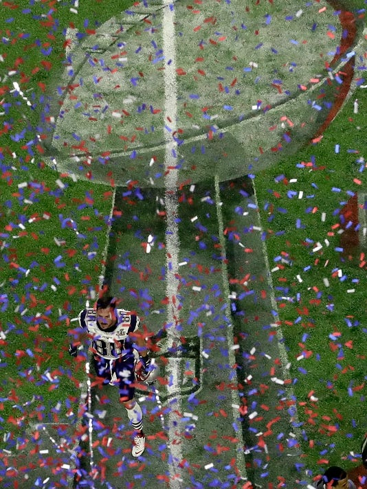 New England Patriots' Danny Amendola celebrates after defeating the Atlanta Falcons in overtime at the NFL Super Bowl 51 football game Sunday, Feb. 5, 2017, in Houston. The Patriots defeated the Falcons 34-28. (AP Photo/Tim Donnelly)