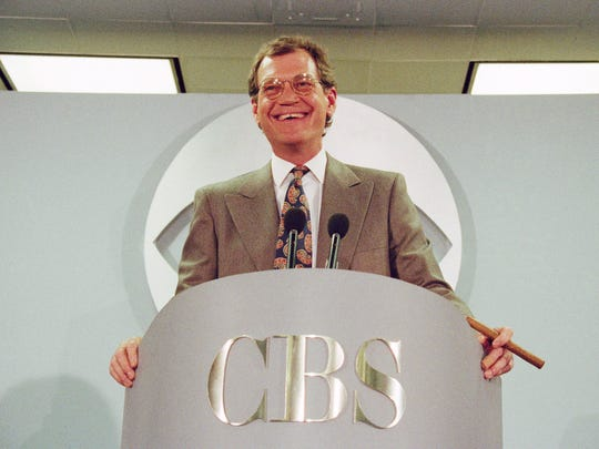 In this Jan. 14, 1993 file photo, David Letterman announces