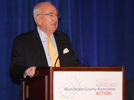 Bill Mooney, the President and CEO of the Westchester County Association, delivers his remarks during the Westchester County Association's 2016 Economic Forecast Breakfast at the Westchester Marriott in Tarrytown, Jan. 7, 2016.