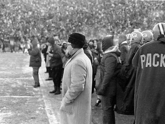 Packers coach Vince Lombardi watches from the sideline during the Ice Bowl on Dec. 31, 1967 at Lambeau Field. The 1967 season, which culminated with this NFL Championship victory over the Cowboys, followed by a 33-14 victory over the Oakland Raiders in Super Bowl II, was Lombardi's sixth and final championship season in Green Bay.