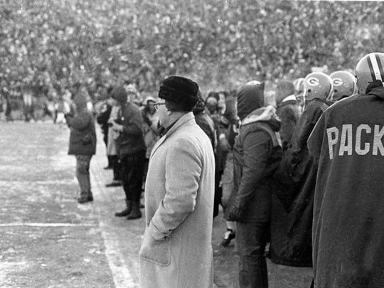 Packers coach Vince Lombardi watches from the sideline during the Ice Bowl on Dec. 31, 1967 at Lambeau Field. The 1967 season, which culminated with this NFL Championship victory over the Cowboys, followed by a 33-14 victory over the Oakland Raiders in Super Bowl II, was Lombardi's final championship season in Green Bay.