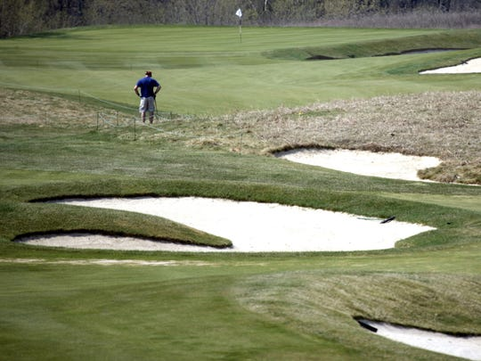 The 11th hole at The Orchards Golf Club in Washington Township.