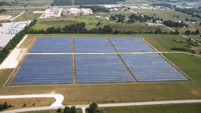 This solar farm began producing energy in June 2014. It is on property owned by City Utilities.