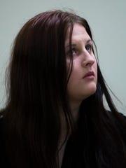 Julia Stensky testifies at the murder trial of her former boyfriend, David 'D.J.' Creato Tuesday, May 2, 2017 in Camden.