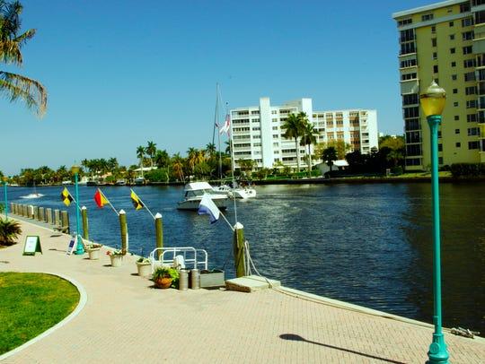 In Delray Beach, the Florida  Intracoastal Waterway