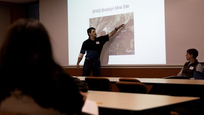 Ben Martinez, engineering and minerals staff officer for San Juan National Forest, discusses plans for the Brooklyn Mine during a meeting Thursday at San Juan College's School of Energy.