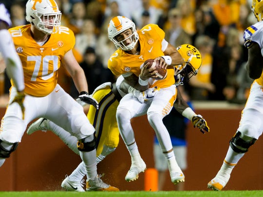 Tennessee quarterback Jarrett Guarantano (2) is sacked by LSU corner back Kevin Toliver II (2) during a game between Tennessee and LSU at Neyland Stadium in Knoxville, Tennessee, on Saturday, Nov. 18, 2017.