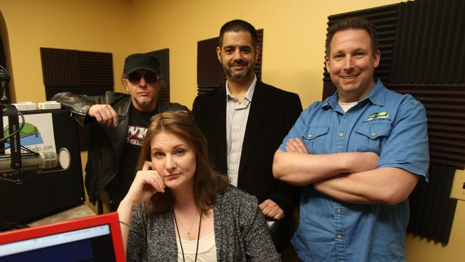 From left, Neil Richter, Katy Baze, Steve Zarro, and Brian Horowitz are photographed in the new Hudson River Radio studio in Stony Point June 2, 2017.