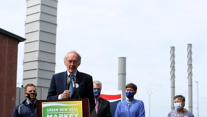 Sen. Ed Markey addresses the crowd with the gas compressor station behind him while state representative James Murphy, state senator James Keenan, state representative Joan Meschino, and Alice Arena, president of FRRACS, of Weymouth stand behind him during his speech on Friday, Sept. 18, 2020.
