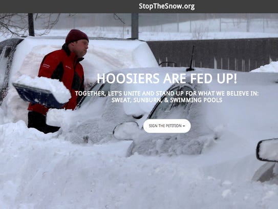 A screenshot of StopTheSnow.org, created by freelance web developer Adam Whitaker of Westfield as a tongue-in-cheek way for Hoosiers to vent about the seemingly neverending winter snows.