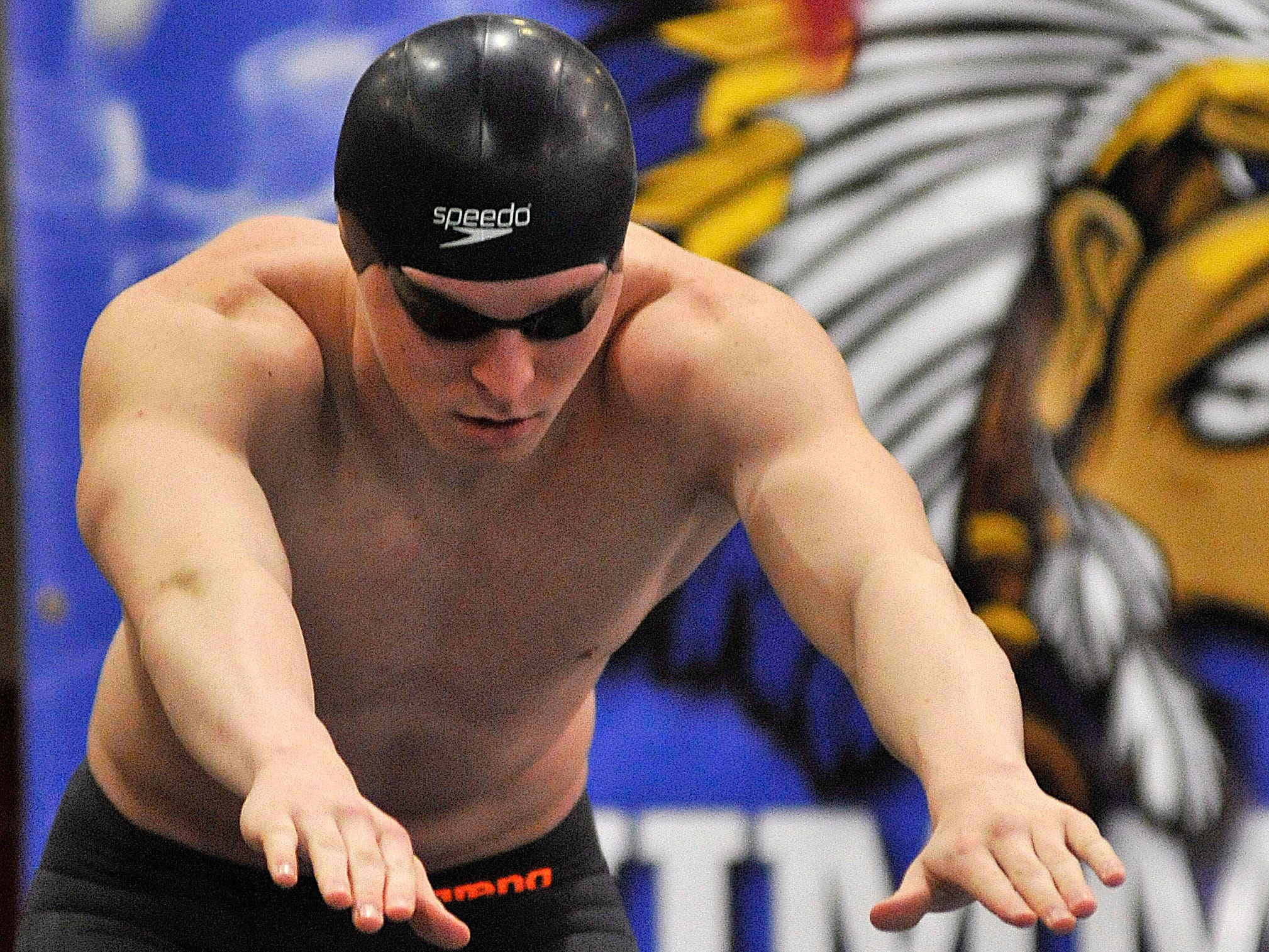 Galion's Sam DeNero readies for the anchor leg of the 200-yard free relay in Thursday's Division II state meet. DeNero has the second-fastest time going into the finals of the 50 freestyle.