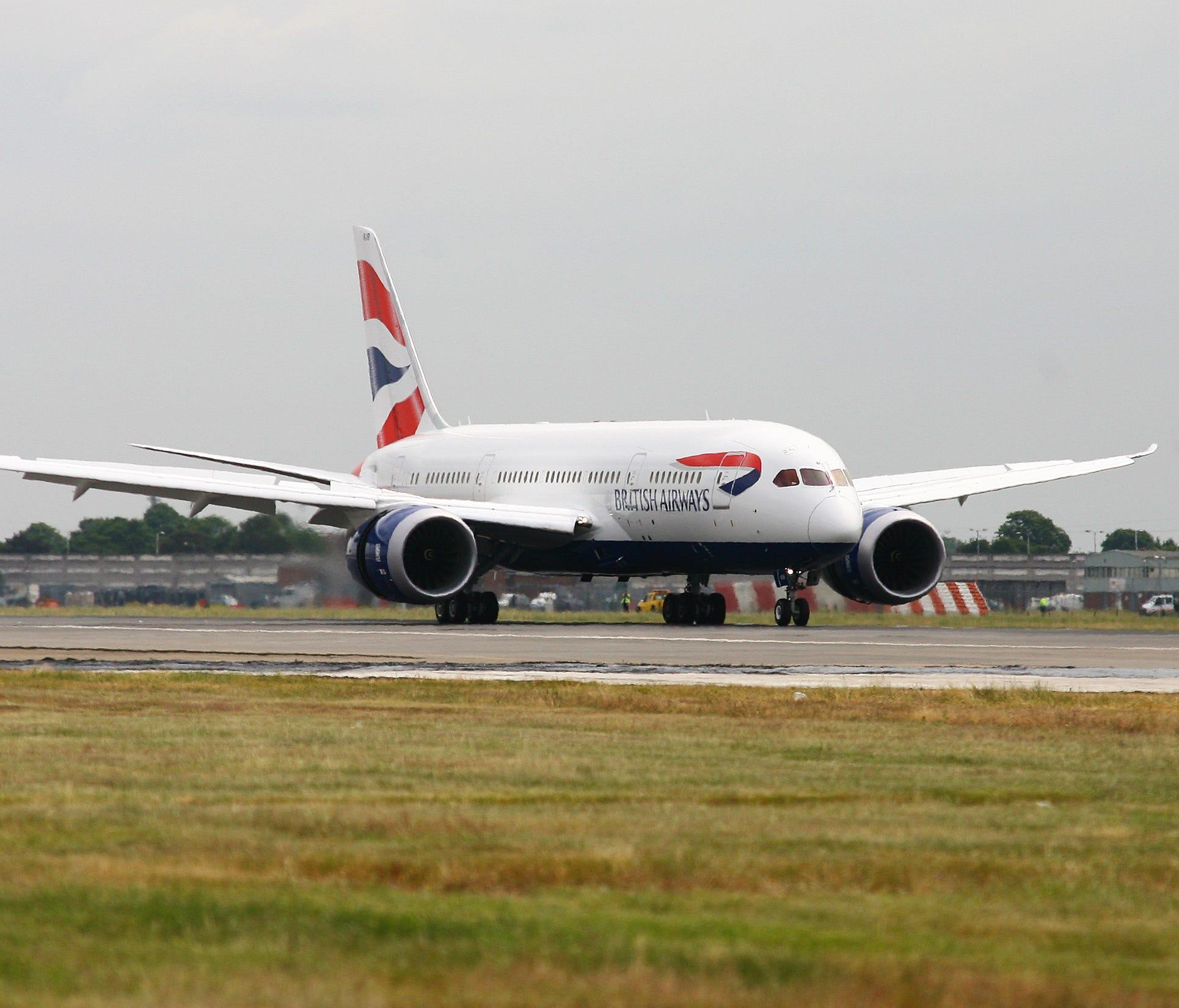 British Airways' first Boeing 787-8 Dreamliner touches down at London Heathrow on June, 27 2013.