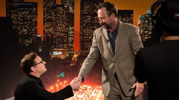 "Tom Green with guest Bob Saget on the set of AXS TV's ""Tom Green Live"" last year."