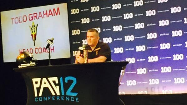 Arizona State head coach Todd Graham speaks during Pac-12 Media Days on Thursday in Burbank, Calif.