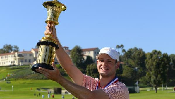 PACIFIC PALISADES, CA - AUGUST 20:  Doc Redman poses with the Havemeyer Trophy after winning the USGA U.S. Amateur Championship 36 hole final on August 20, 2017 at the The Riviera Country Club in Pacific Palisades, California. (Photo by Robert Laberge/Getty Images)