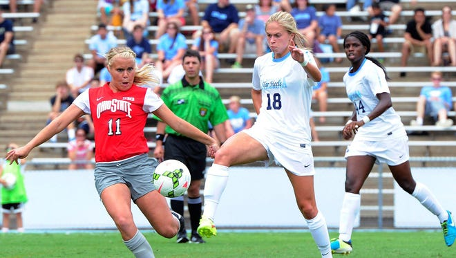 Northville High grad Megan Buckingham (right) was named ACC Freshman of the Year at North Carolina.