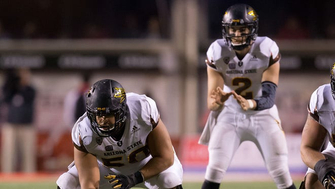 Oct 17, 2015: Arizona State Sun Devils quarterback Mike Bercovici (2) awaits the snap from center Nick Kelly (50) during the second half against the Utah Utes at Rice-Eccles Stadium. Utah won 34-18.