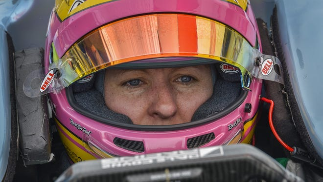 Dale Coyne Racing IndyCar driver Pippa Mann (63) during practice for the Indianapolis 500 at the Indianapolis Motor Speedway on Wednesday, May 16, 2018.