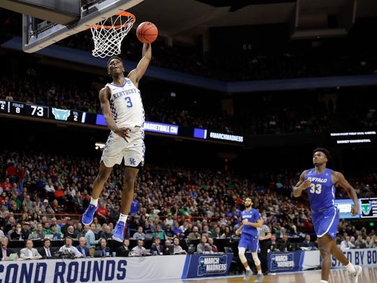 Kentucky guard Hamidou Diallo dunks against Buffalo during the second half of a second-round game in the NCAA men's college basketball tournament Saturday, March 17, 2018, in Boise, Idaho. (AP Photo/Otto Kitsinger)