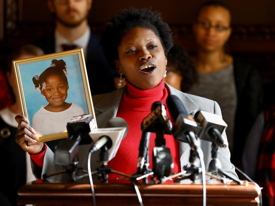 """Bianca Shaw likened Wisconsin's FoodShare Employment and Training program requirements to """"slave labor"""" during a press conference at the Wisconsin state Capitol on Jan. 31, 2018. She was speaking out against a package of special session bills on welfare that have since been enacted. Shaw spoke about the difficulty of trying to support herself and her daughter Olivia on a low wage."""