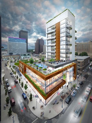 A rendering shows the Gallina proposal for Midtown Parcel 5 looking southwest across Main Street from the Liberty Pole.