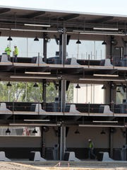 Top Golf, under construction in West Chester, includes a three tier tee structure.  The Enquirer/Patrick Reddy