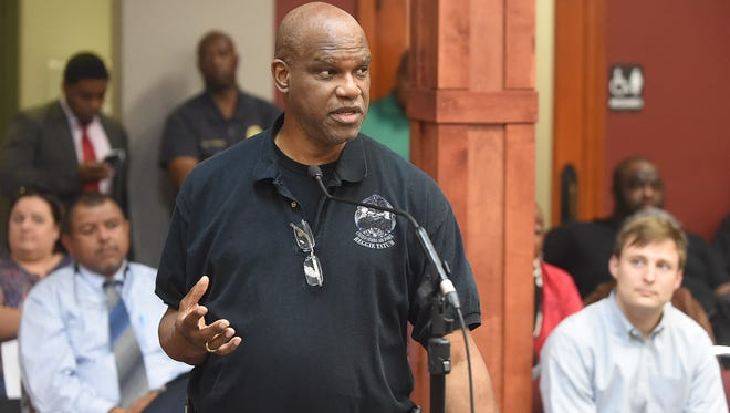 Opelousas Mayor Reggie Tatum addresses the St. Landry Parish Council during a special meeting held Wednesday to discuss the 2017 fiscal budget.