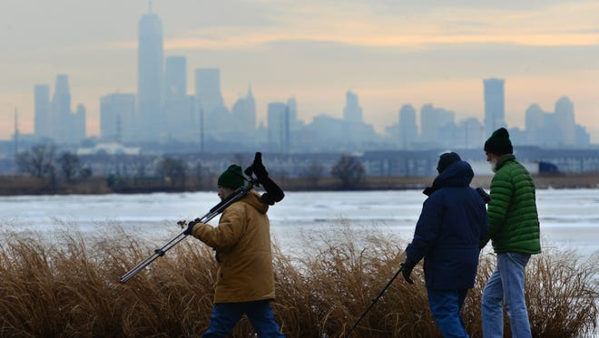 Don Torino, president of the Bergen County Audubon Society, leads a group through the Meadowlands on a birdwatching tour of Richard W. DeKorte Park in Lyndhurst in January 2018. Torino leads Meadowlands tours twice a month.