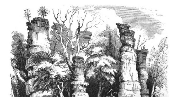 Sketch of the chimneys by Porte Crayon, 1857.