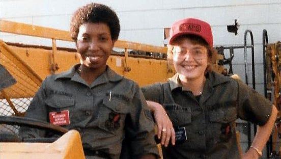 Sandy Britt, right, Norton AFB, California, 63rd Aerial Port Squadron.