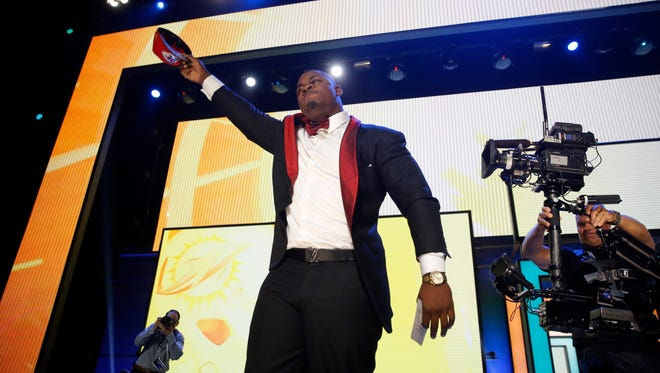Former Mississippi State defensive tackle Chris Jones celebrates being picked by the Kansas City Chiefs during the second round of the NFL draft.