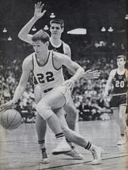 North High School junior Bob Ford drives to the basket against Lafayette Jefferson in ?67. Evansville North High School junior Bob Ford drives to the basket against Lafayette Jefferson in the 1967 IHSAA State Final.