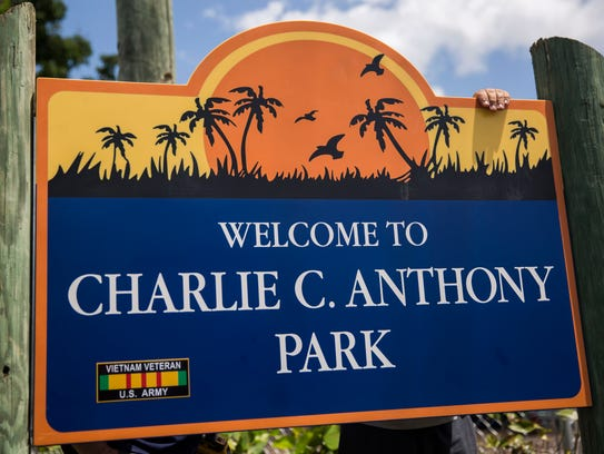 """The corrected park sign reads """"Welcome to Charlie C."""