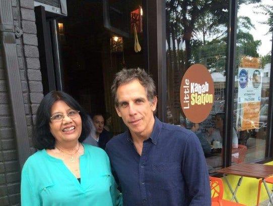 Ritu Saran (Bonnie Saran's mom) with Ben Stiller outside