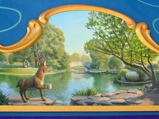 Jonathan Queen created 32 murals for the carousel. This is one of them.