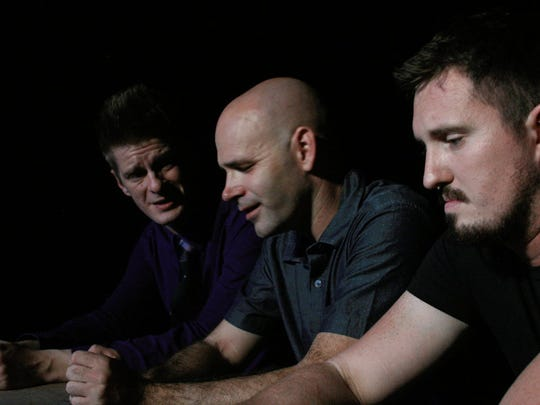 """Kevin Roach, Jim Hunter and Joe Gilpatrick rehearse a scene from the upcoming """"The Conversation About the Keys."""""""